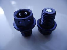 "Magnetic CNC blue sump plug Oil Drain Bolt ""Lockwire drilled"" M12x1.5 Honda"